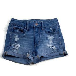 American Eagle Hi Rise Short Shorts Destroyed
